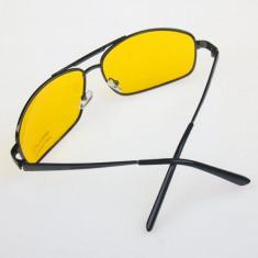 Ochelari IMPERIAL de condus noaptea Night Vision Glasses Polarized Anti-Glare, Unisex, Galben, Pilot, Metal, Protectie UV 100%