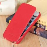 Husa / toc protectie piele naturala iPhone 4, 4s lux, tip flip cover, ROSU - Husa Telefon