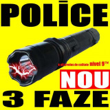 Lanterna POLICE + Electrosoc 20.000 kV + LED PUTERNIC + 3 FAZE
