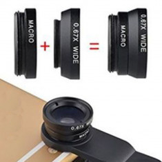 Lentile universale CLIP LENS 3 in 1 fish eye, macro, wide angle