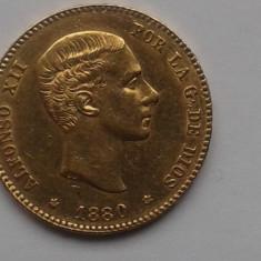 Monede Straine, Europa - C.016.SPANIA - 25 PESETAS 1880 -moneda aur