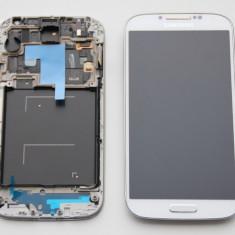 Display LCD - Display Original Samsung Galaxy S4 i9505 Alb, Touchscreen, Rama, Buton Home
