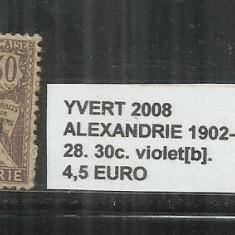 ALEXANDRIE 1902 - 03 - 28. 30 C., Stampilat