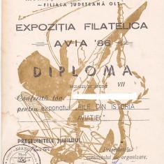 Bnk fil Diploma Expozitia filatelica Avia 86 Caracal