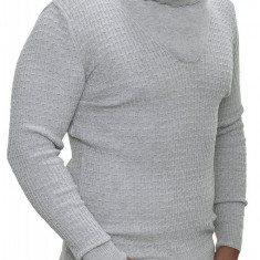 Pulover Barbati din Tricot Fin Carisma Gri deschis 7132, S, M, L, XL, XXL