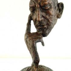 OMUL CU MASCA - STATUETA DIN BRONZ PE SOCLU DIN MARMURA - Sculptura, Nuduri, Europa