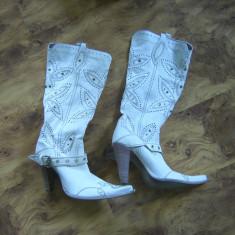 Cizme dama, Piele naturala - Cizme cowboy de vara cu tinte si decupaje marimea 37 PLANISPHERE