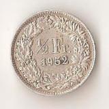 Moneda 1/2 franc 1952 - Elvetia, 2, 5 g argint 0, 8350, Europa, An: 1952