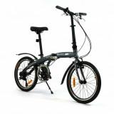 Bicicleta pliabila (aluminiu) unisex Qeridoo QL - gri, model 2016 - Bicicleta pliabile, 20 inch, 20 inch, Numar viteze: 7, Aluminiu, Gri metalizat