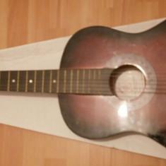 Chitara clasica incepatori cu corzi de metal si pana culoare maro - negru