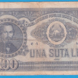 (10) BANCNOTA ROMANIA - 100 LEI 1952, REP. POPULARA ROMANA, SERIE DIN 1 CIFRA