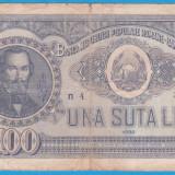 (18) BANCNOTA ROMANIA - 100 LEI 1952, REP. POPULARA ROMANA, SERIE DIN 1 CIFRA