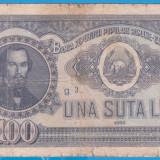 (23) BANCNOTA ROMANIA - 100 LEI 1952, REP. POPULARA ROMANA, SERIE DIN 1 CIFRA