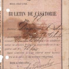 BDA - BULETIN DE CASATORIE - EMIS IN BRAILA LA 27 IANUARIE 1915!!!!! - Pasaport/Document, Romania 1900 - 1950