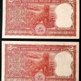 Lot India 2 x 2 rupii tigru consecutive UNC urme capsare sign 85 RN Malhotra **