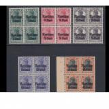 Timbre Romania, An: 1917, Transporturi, Nestampilat - Ocupatia germana uzuale serie supratipar gotic rumanien bloc de 4, mnh/**