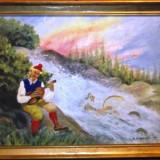 Tablou In Ulei Pe Panza Peisaj Montan Semnat G E Holsy 1941!, Peisaje, Realism
