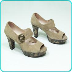 FRUMOSI _ Pantofi decupati, cu platforma, piele, SUZANNA _ femei | nr. 38 - Pantof dama, Culoare: Bej, Piele intoarsa