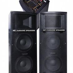 MEGA SISTEM 2 BOXE ACTIVE 500WATT 4 DIFUZOARE BASS, MIXER, MP3 PLAYER USB, KARAOKE.