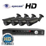Camera CCTV - Kit supraveghere AHD cu 4 camere 1MP si DVR Eyecam EC-AHD-KIT2