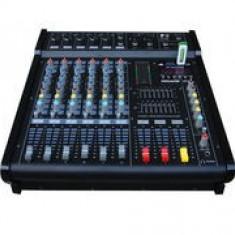 Mixer audio Altele PROFESIONAL AMPLIFICAT/PUTERE 600 WATT, 6 CANALE, MP3 PLAYER, EFECTE.
