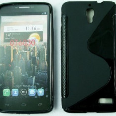 Husa Telefon - Toc silicon S-Case Orange San Remo / Alcatel One Touch Idol OT-6030D Negru
