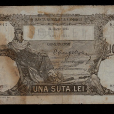 Bancnota Romania 100 lei 1931 data 31 martie numismatica bani vechi bancnote