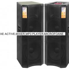 Echipament karaoke - 2 BOXE ACTIVE/AMPLIFICATE, MIXER, STATIE, MP3 PLAYER, BLUETOOTH, 2 MIC. WIRELESS .