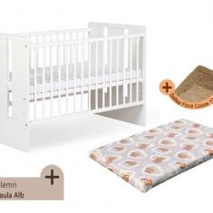 Pat copii - Patut fara sertar KLUPS Paula Alb + Saltea Fibra MyKids