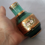 Vaza sticla - VAZA UNICAT CRISTAL VERDE FOITA AUR STICLA CRISTAL BOHEMIA