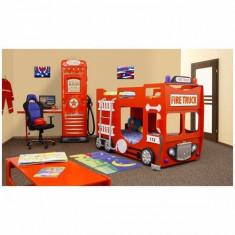 Pat tematic pentru copii Altele, Alte dimensiuni - Pat etajat masina de Pompieri pentru copii