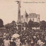 PLOIESTI, MONUMENTUL VANATORILOR, ADUNARE POPULARA, CIRCULATA 1919 - Carte Postala Muntenia 1904-1918, Ploiesti, Circulata, Printata