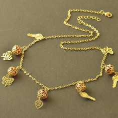 Colier placat filat aur 14k GF RUBY PANDORA pandantiv inima cheita fluture - Colier placate cu aur