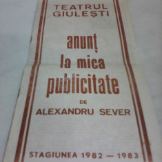 PLIANT RECLAMA TEATRUL GIULESTI ANUNT LA MICA PUBLICITATE STAGIUNEA 1982-1983