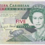 CARAIBELE DE EST 5 dollars ND 2007 UNC - bancnota america