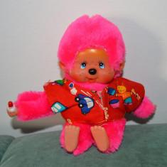 Jucarie plus maimutica Monchhichi (kiki, moncici), roz, cu hainuta, 17cm, - Jucarie de colectie
