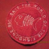 Colectii - Ecuson -emblema textila-save the world, the fishbone asc