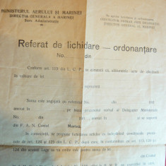 Formular anii'30- Ministerul Aerului si Marinei- Referat de Lichidare- Ordonanta