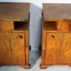 Mobilier - Set 2 noptiere Art Deco din lemn masiv; Dulap; Comoda mica; Noptiera