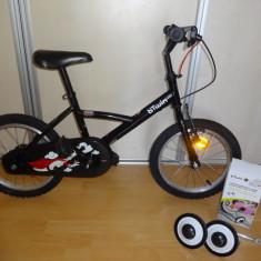 Bicicleta copii B'TWIN marime 16' cu roti ajutatoare, NEAGRA, Decathlon CA NOUA, 16 inch, 16 inch, Numar viteze: 1