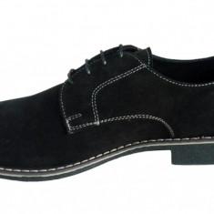 Pantofi barbati casual - eleganti din piele naturala velur negri - DOL27