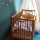 Patut lemn pentru bebelusi Kinder Mobel, 120x60cm - Pat copii din lemn natural +saltea