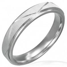 Inel din oțel chirurgical - culoare mată cu linii mari - Inel argint