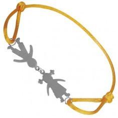 Brățară argint - băiat și fată pe șnur galben