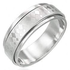 Inel rotativ din oțel inoxidabil cu model de diamante mari și mici - Inel argint