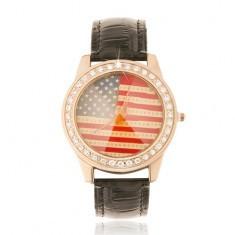 Ceas analogic, auriu-roz, curea neagră, steagul Americii, zirconiu - Ceas dama