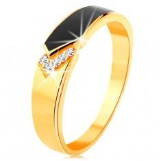 Inel din aur galben de 14K - bandă neagră emailată cu vârf, zirconii transparente - Inel barbati