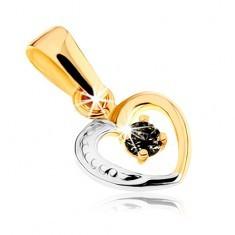Pandantiv în două culori din aur 9K - contur de inimă simetrică, safir negru