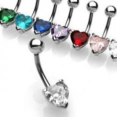 Piercing pentru buric cu zircon în formă de inimă - Piercing buric