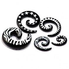 Expander din acrilic negru, formă de melc - Piercing ureche